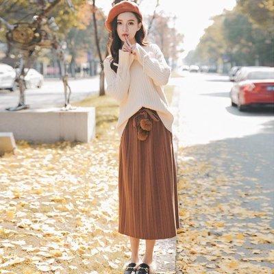 毛衣套裝女 兩件式秋冬小清新季V領配過膝半身裙顯瘦寬鬆慵懶風-小精靈