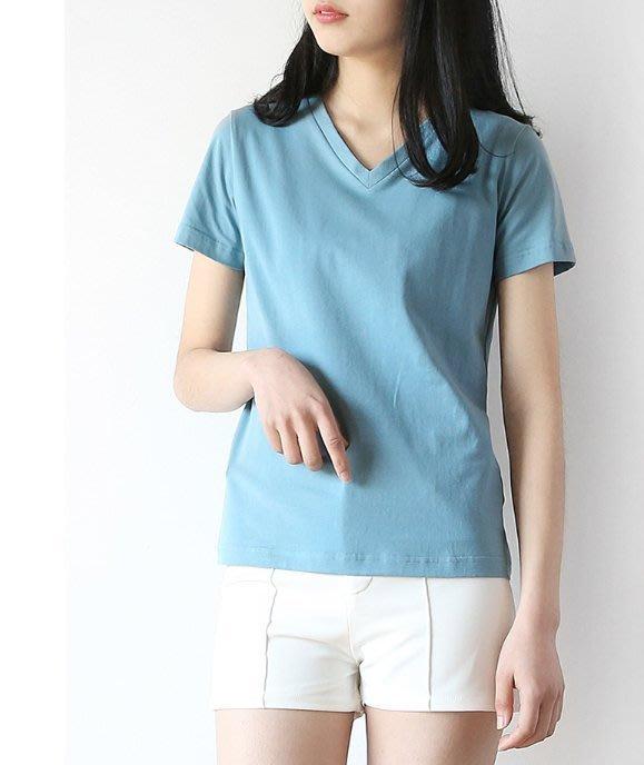 外貿單~全棉V領簡約風百搭短袖T恤 1103米蘭風情