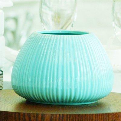 花瓶現代簡約白色藍色創意矮款陶瓷花瓶康...