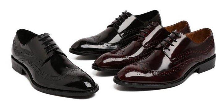 新品男士英倫正裝皮鞋 頭等牛漆皮 系帶尖頭 雕花布洛克鞋
