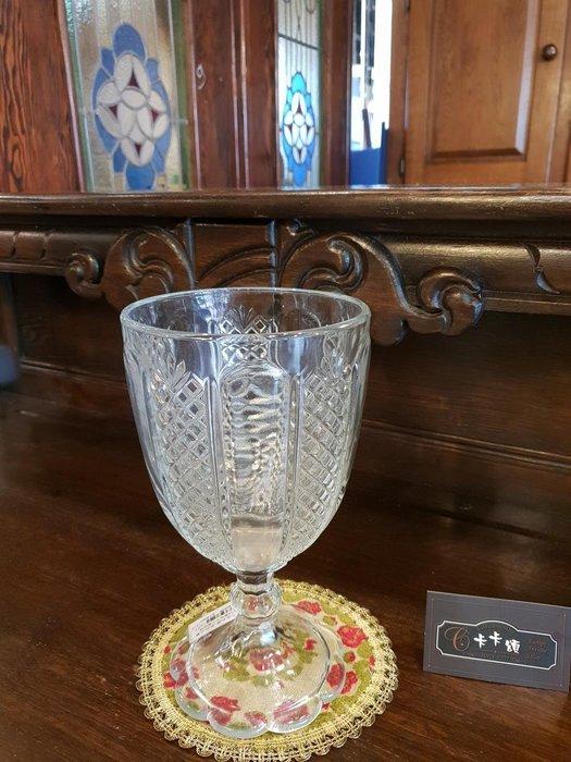 【卡卡頌 歐洲跳蚤市場/歐洲古董】法國老件_大件 玫瑰菱格水晶玻璃雕刻瓶 花瓶 透明 老水晶雕刻瓶 g0420