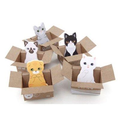 [愛雜貨]韓版 紙箱貓咪便利貼 喵星人 N次貼 便條貼 便簽貼 紙箱 貓星人 貓奴必備 便條紙 紙條