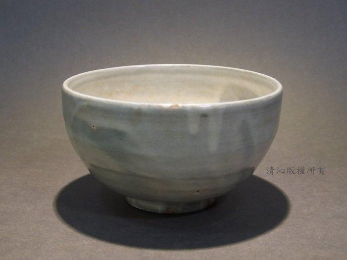 ☆清沁苑☆日本茶道具~在銘 灰釉 手作垂流紋茶碗~d097