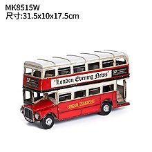 紅色雙層巴士精致櫥窗擺件餐廳服裝店咖啡廳影樓道具工藝品擺件(三款可選)