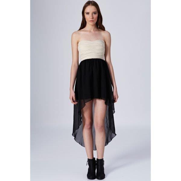 英國製 現貨UK10 英國品牌Rare London 雪紡平口前短後長洋裝禮服