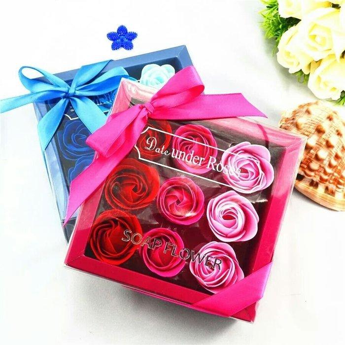 粉紅玫瑰精品屋~九格方盒香皂花禮盒~