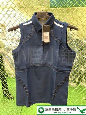 [小鷹小舖] Adidas Golf 阿迪達斯 高爾夫 女孩無袖polo衫 三扣式領 提花網布 徽章背面 防紫外線 深藍