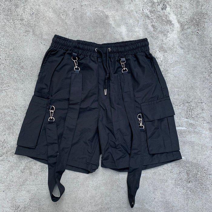 【inSAne】韓國購入 / 交叉綁帶 / 一件兩穿 / 口袋短褲 / 單一尺寸 / 黑色