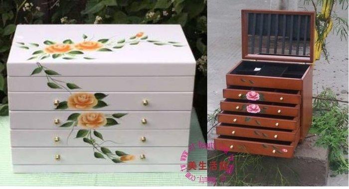 美生活館---全新鄉村彩繪 黃玫瑰掀門五抽白色 珠寶盒 珠寶盒/收納箱/手飾櫃--入宅店面 拍照 戒子項鍊耳環收納