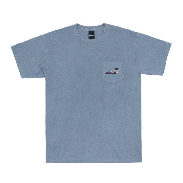 { POISON } ONLY NY LOON SOCIETY T-SHIRT 潛鳥雙關色落染 口袋短TEE 古藍