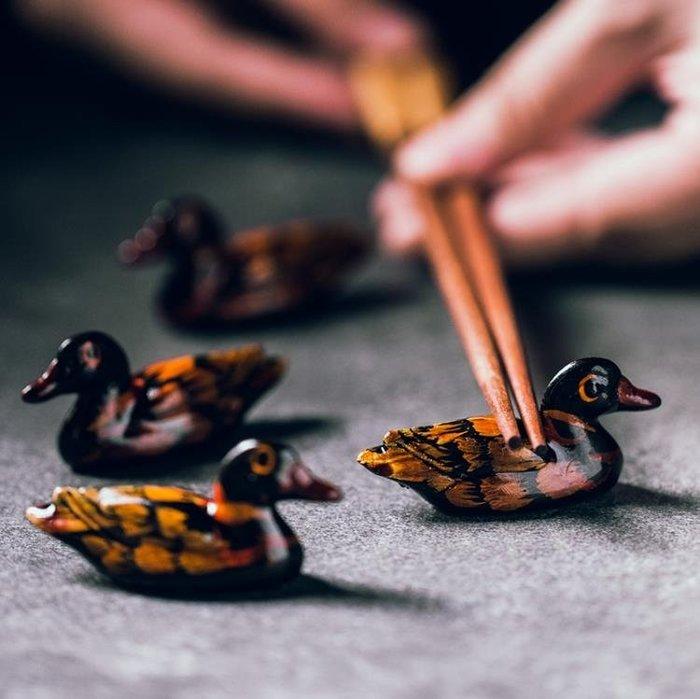 創意個性鴨子筷子托酒店飯店擺臺餐具筷架兩用多用筷子架筷枕筷托
