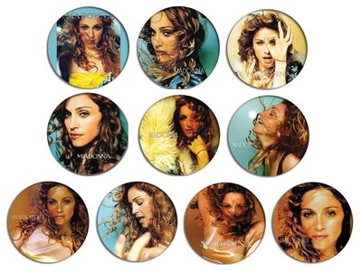 現貨 MADONNA Ray Of Light , Frozen pinback BADGE SET 襟章 徽章 (一套10個)