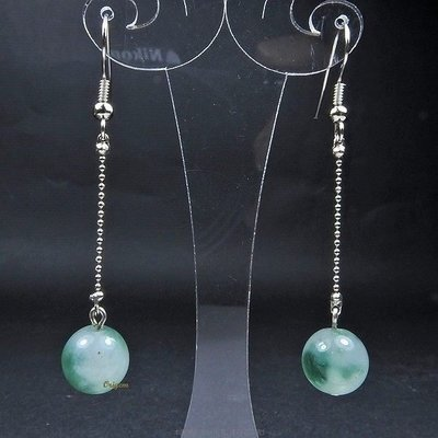 珍珠林~特價商品~垂吊式10MM翡翠飄綠翠玉耳環#350~針夾式任選