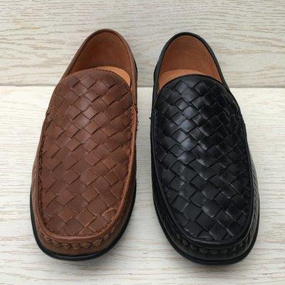 豆豆鞋 休閒皮鞋-懶人套腳真皮編織男鞋子2色65k51[獨家進口][米蘭精品]