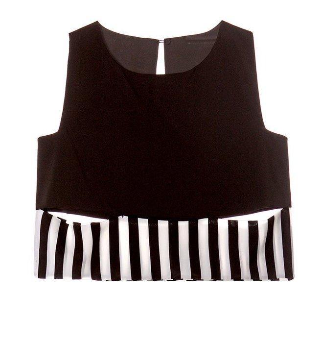 【夕溪閣】~夏季新款韓版個性無袖露肩條紋短款修身t恤 T1583xxgz36914