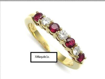 真品TIFFANY&Co. 純18K金天然鑽石紅寶石戒指(線戒)絕版品