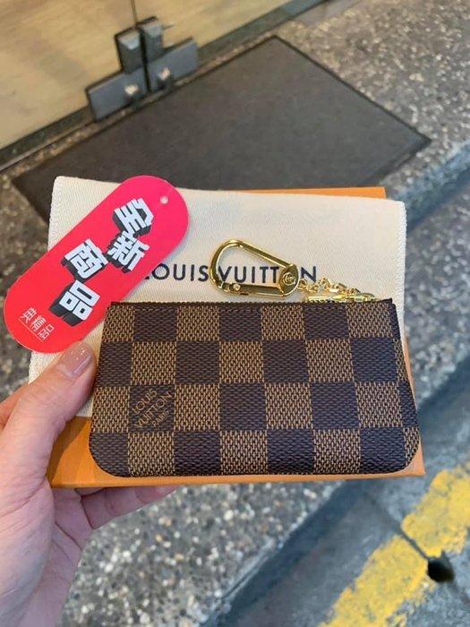 典精品  LV 全新 真品 N62658 棋盤格 咖格 零錢 鎖包 鑰匙 零錢包
