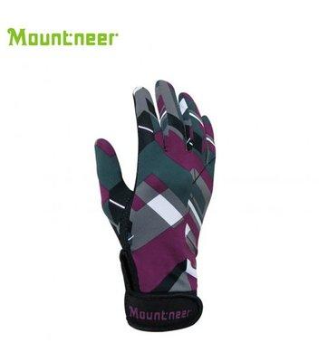 丹大戶外【Mountneer】山林休閒 抗UV印花觸控手套 11G05-96 灰紫