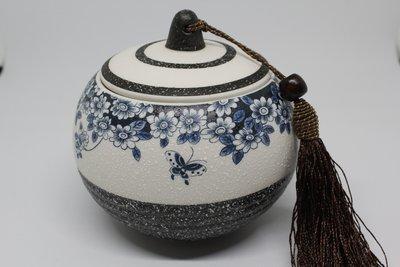 〈日本直送代購〉36101 日式雪花釉 蝶戀花 茶葉罐 醒茶罐 保存罐 現貨一個 $560