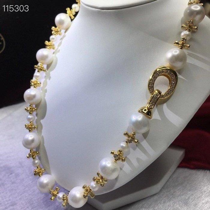 (輕舞飛揚)名媛氣,純天然珍珠項鍊,超亮,大顆粒,12-13mm左右,極光天然珍珠,高品質媲美澳白珠強光近正圓極微瑕!