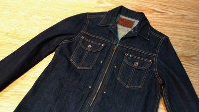 近全新日本製正品COOTIE DENIM Jacket合身牛仔深藍原色布邊厚磅拉鍊外套 硬挺重磅可養凹凸布紋赤耳 降谷硬派