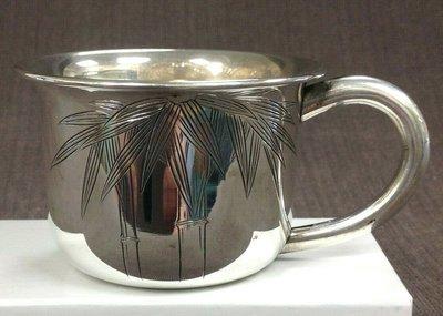 日本竹子圖純銀杯