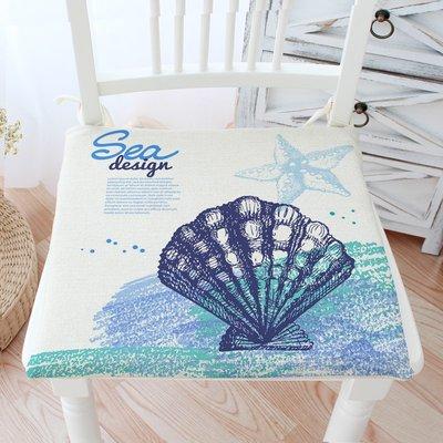 熱賣-地中海貝殼海洋椅墊 棉麻坐墊椅子...