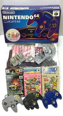 【任天堂 Nintendo 64】 N64 原廠日製主機*1、手把*4、遊戲*6 配件全套 出售