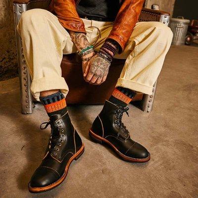 固特異黑色手工裝馬丁大頭短靴男真皮休閑復古高幫機車皮鞋百搭潮