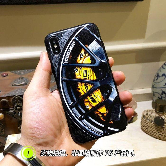 XR手機殼Apple保護套保護殼正韓國版蘋果8X手機殼iPhone7plus個性創意XR奔馳AMG輪圈卡鉗6s潮男Xs