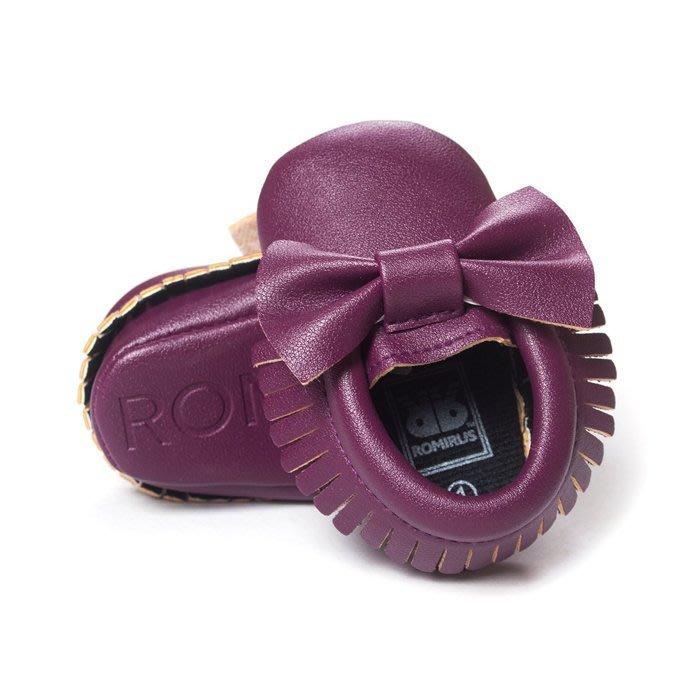 寶貝倉庫~歐美款~可愛紫蝴蝶結流蘇軟底鞋~學步鞋~不掉鞋~寶寶鞋~幼兒鞋~學走鞋~鬆緊帶設計~坐學步車穿~彌月送禮