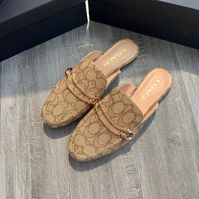 正品Coach蔻馳奧萊sawyer穆勒拖鞋夏季新款時尚百搭外穿拖鞋真皮拖鞋 帆布拖鞋平底女鞋