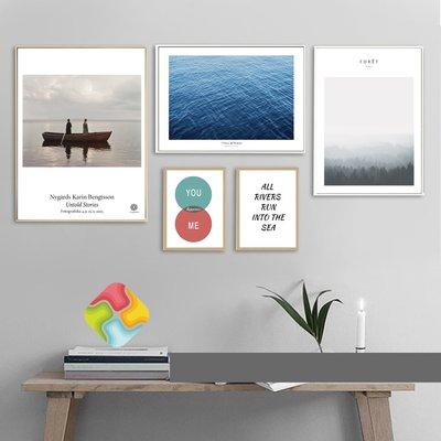 ins熱銷北歐風格海浪大海個性小船小清新裝飾畫芯字母掛畫畫心(不含框)
