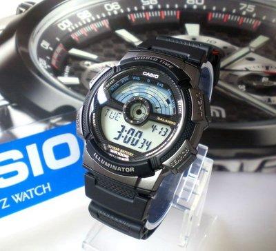 CASIO卡西歐手錶 經緯度鐘錶 百米防水 仿飛機儀表板 LCD模擬指針【↘ 790】公司貨 AE-1100W-1A
