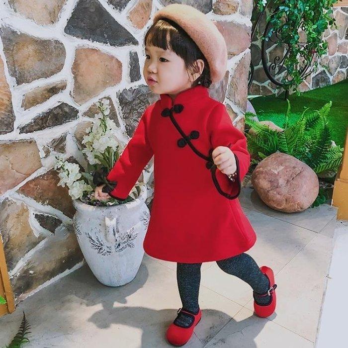 999女童旗袍漢服中國風兒童儒裙秋冬唐裝新款過新年拜年喜慶洋氣裙子01KK12