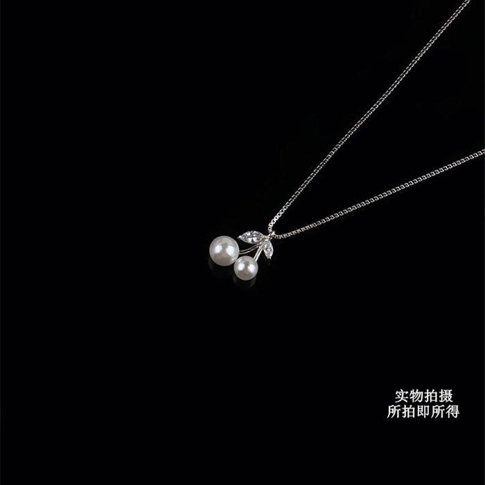 珍珠櫻桃項鏈女日韓S925純銀簡約甜美個性清新女學生鎖骨短鏈吊墜