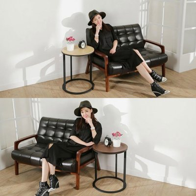 書房/臥室【居家大師】YC-TS307 LOFT工業風曲木圓碟茶几邊桌/兩色可選