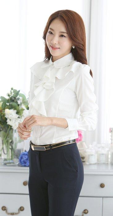 艾莉小舖~韓國春裝新款女裝 女式襯衫長袖 ol職業 花邊襯衫雪紡衫~現貨