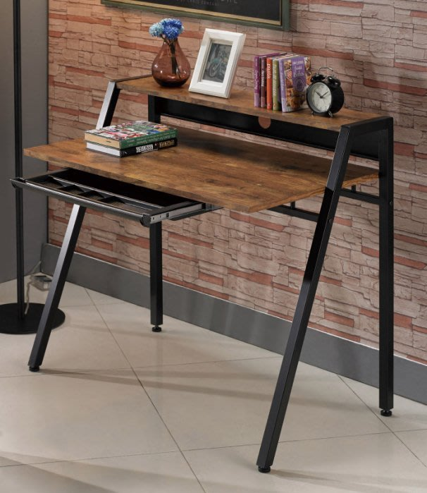 【DH】商品貨號N876-3商品名稱《克理克》3.2尺仿古木紋電腦桌(圖一)簡約雅緻經典。主要地區免運費