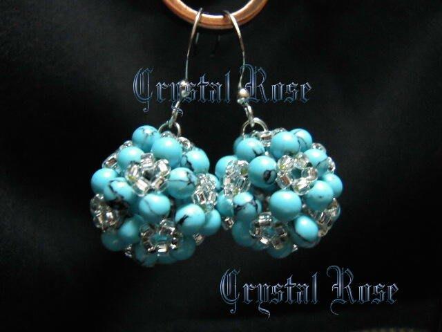 ※水晶玫瑰※ 仿土耳其石 玲瓏水晶球 耳勾式耳環(DD248)~僅此一對