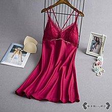 【免運】睡衣 性感女夏季薄款冰絲綢蕾絲吊帶睡裙帶胸~『金色年華』