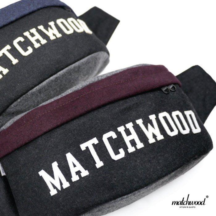 { POISON } MATCHWOOD HANDY BAG 毛料黑酒紅 可肩背腰包 側背包 斜背包 胸前包