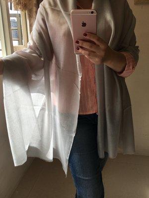 夢夢園SUPERFINE^^特級輕暖特訂款SHAMINA STOLE高級素色羊毛圍巾/披肩200x70CM*銀灰色