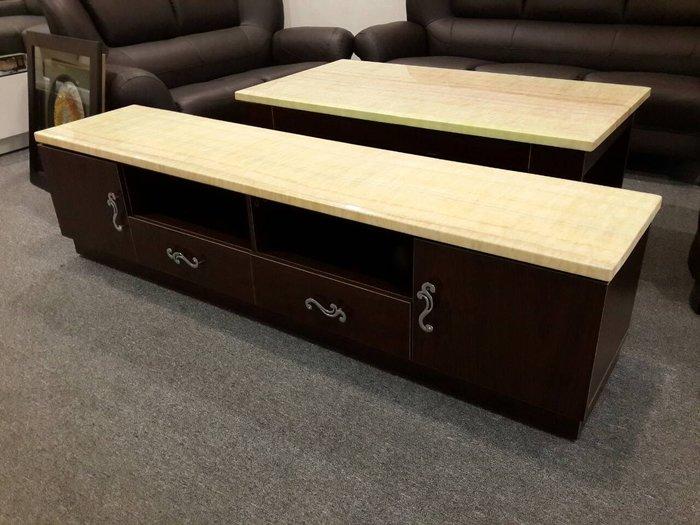 &凱迪家具&A05-米黃石面胡桃6尺長櫃/六尺電視長櫃
