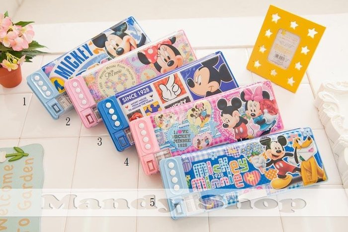 mandyshop【M2451】㊣ Disney迪士尼米奇/米妮多層收納鉛筆盒 / 收納盒