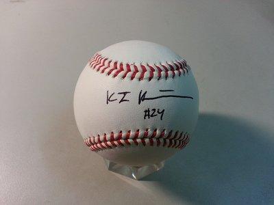 美國職棒MLB未來之星2016 NCAA 帥氣捕手重砲---K.J. Harrison 24 親筆簽名球!!