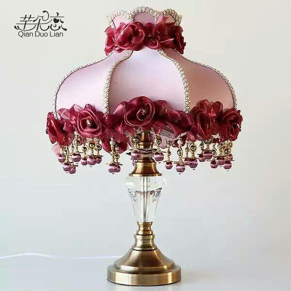 粉紅玫瑰精品屋~ 歐式田園布藝水晶銅台卧室床頭燈~