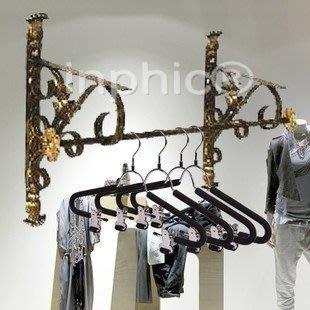 INPHIC-鐵藝服裝展示架 服裝架 側掛服裝貨架 上牆展示架 掛衣架壁掛