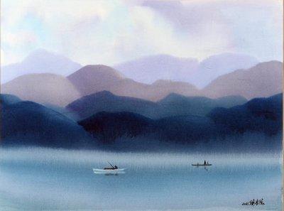 謝孝德 江上垂釣 2011 77X57cm (H176桃園、客家、本土、台灣、師大、教授、美展、當代、藝術)
