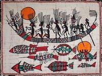 【手繪蠟染壁畫-羽人打魚-80*64cm-1件/組】手繪單畫貴州壁畫壁掛-35008